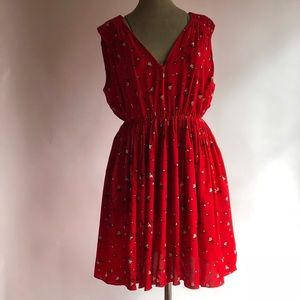 Madewell red dress tied back